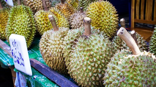 Mad -asien -durian -backpacking -frugt