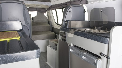 Condo Campervan - kitchen is located in the rear of the van